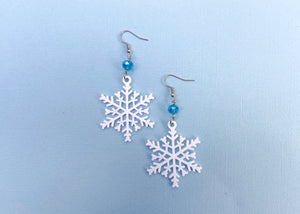 Hidden Mouse Snowflake Earrings (Aqua)