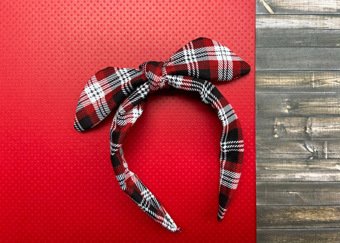 Red and Black Plaid Knotted Bow