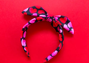 Pink and Black Hearts Knotted Bow