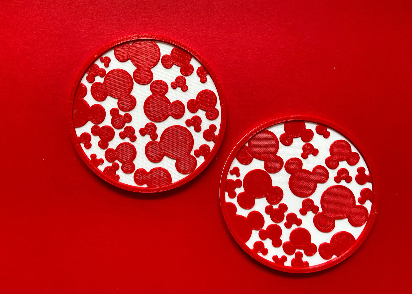 Red Hidden Mouse Coaster Pair
