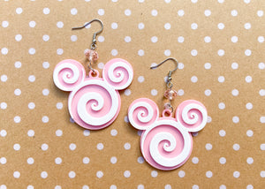Pink Peppermint Mouse Earrings