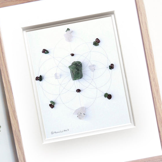 A LOVE STORY --- framed crystal grid