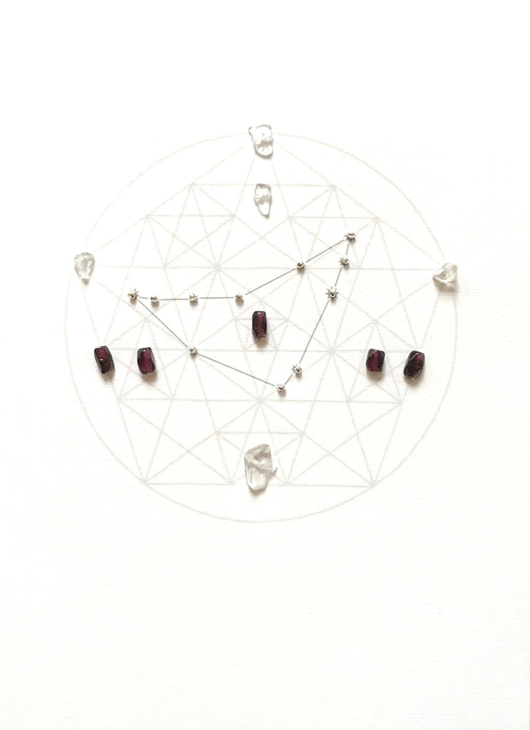 ZODIAC CAPRICORN - Dec 22-Jan 19 - framed crystal grid