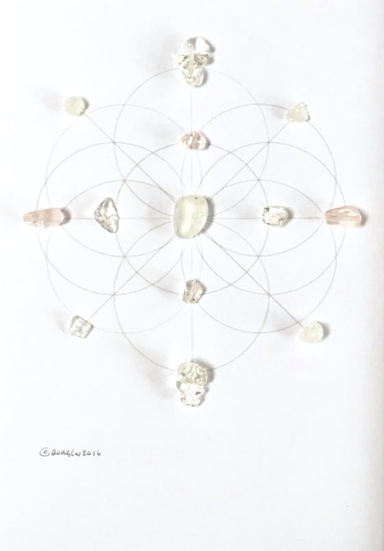 PURE LOVE -- framed crystal grid