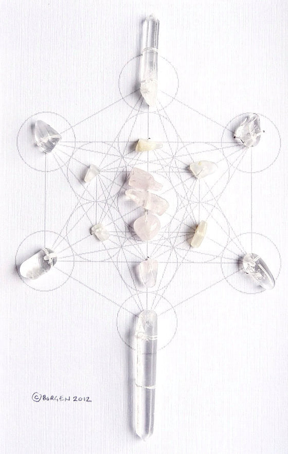 COMPASSION LOVE CLARITY -- framed crystal grid