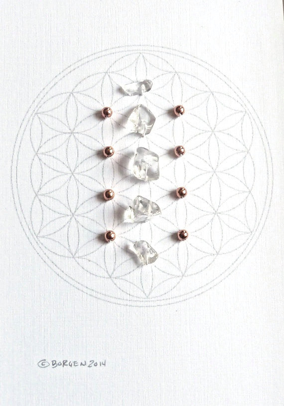 APRIL BIRTHSTONE GRID --- framed crystal grid