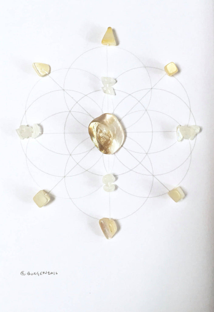 UNION OF SOULS  -- framed crystal grid -- moonstone, pearl, sacred geometry