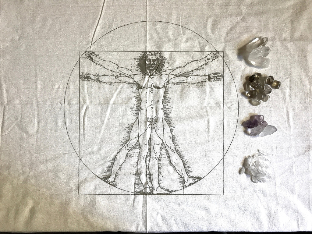XL VIRTRUVIAN MAN --- Crystal Grid Cloth