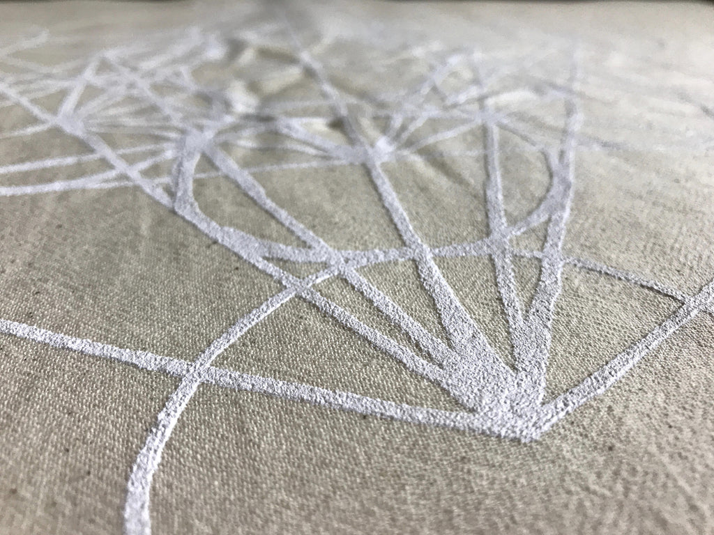 XL METATRON'S CUBE---  Crystal Grid Cloth -- white ink