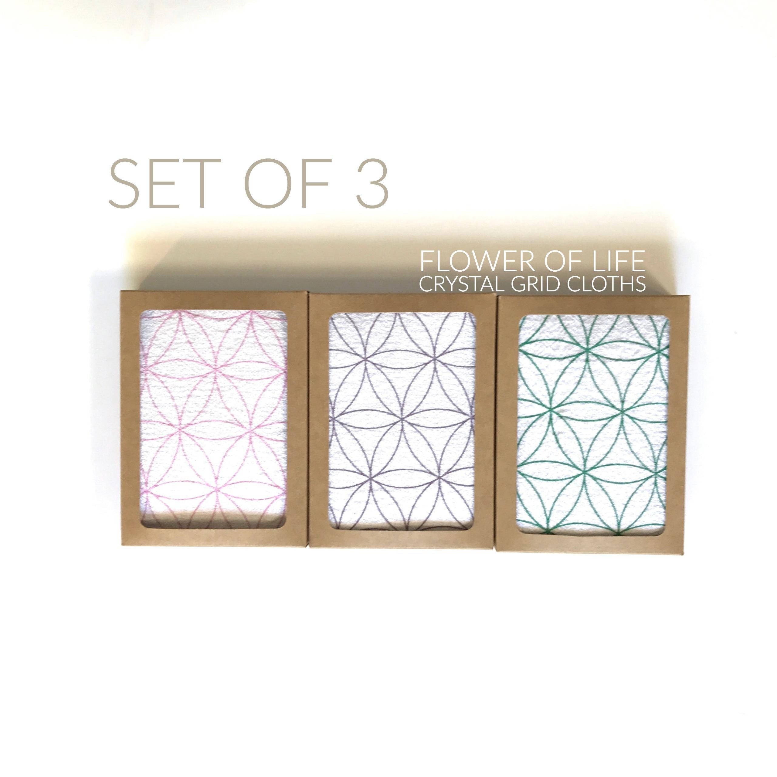 CRYSTAL GRID CLOTHS Set Of 3 Flower Life 100 Cotton All Natural Sacred Geometry Grid Templates