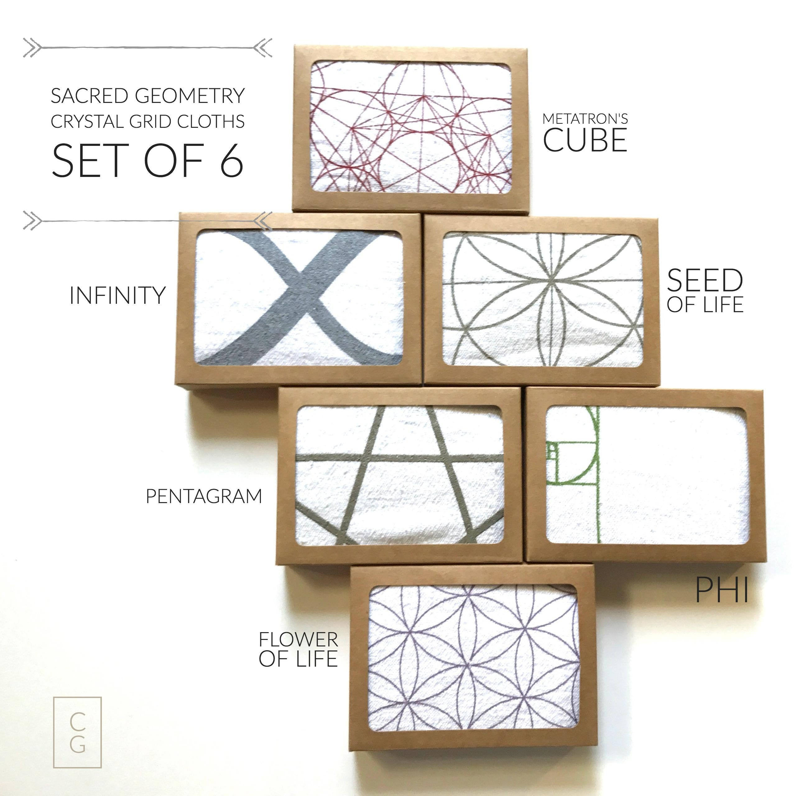 CRYSTAL GRID CLOTHS Set Of 6 100 Cotton All Natural Sacred Geometry Grid Templates
