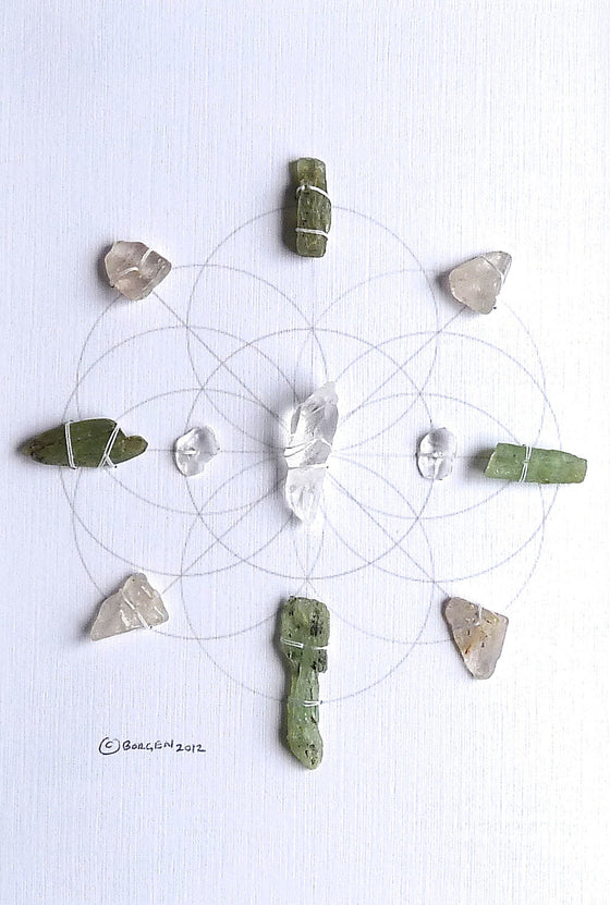 GUARDIAN ANGEL GRID -- framed crystal grid