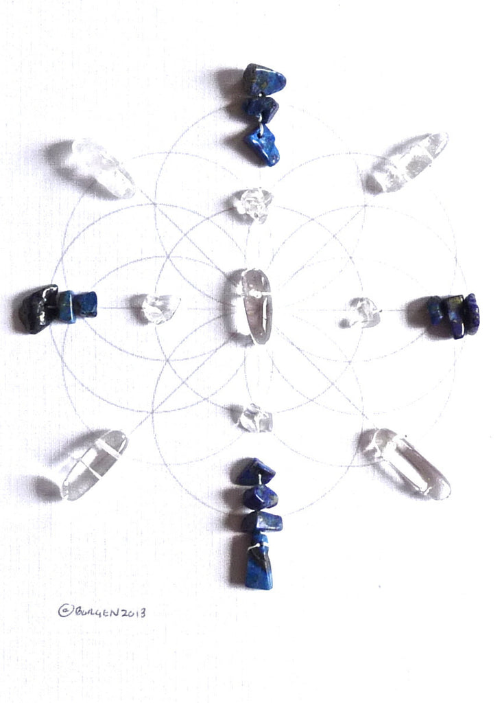 KNOWLEDGE BAGUA AREA -- framed crystal grid