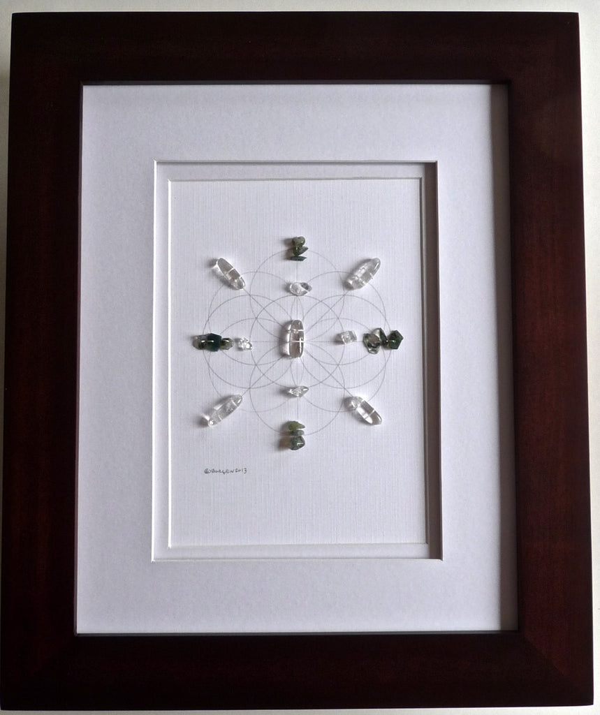 FAMILY BAGUA AREA --- feng shui art -- framed crystal grid