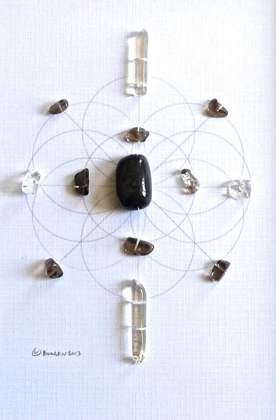 REJUVENATE | CLEANSE | HEAL -- framed crystal grid