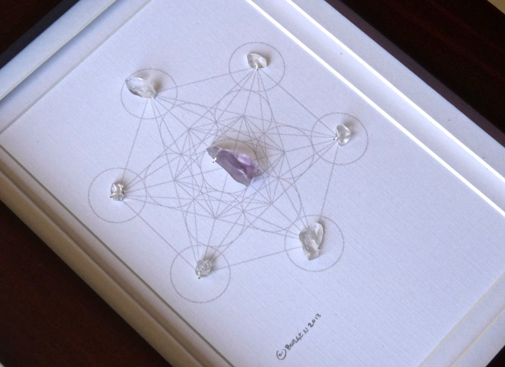 BE HERE NOW -- framed crystal grid