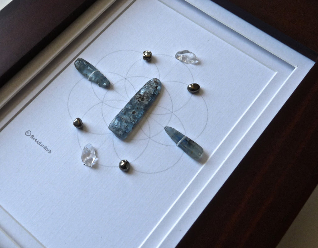 LIVE YOUR TRUTH -- framed crystal grid