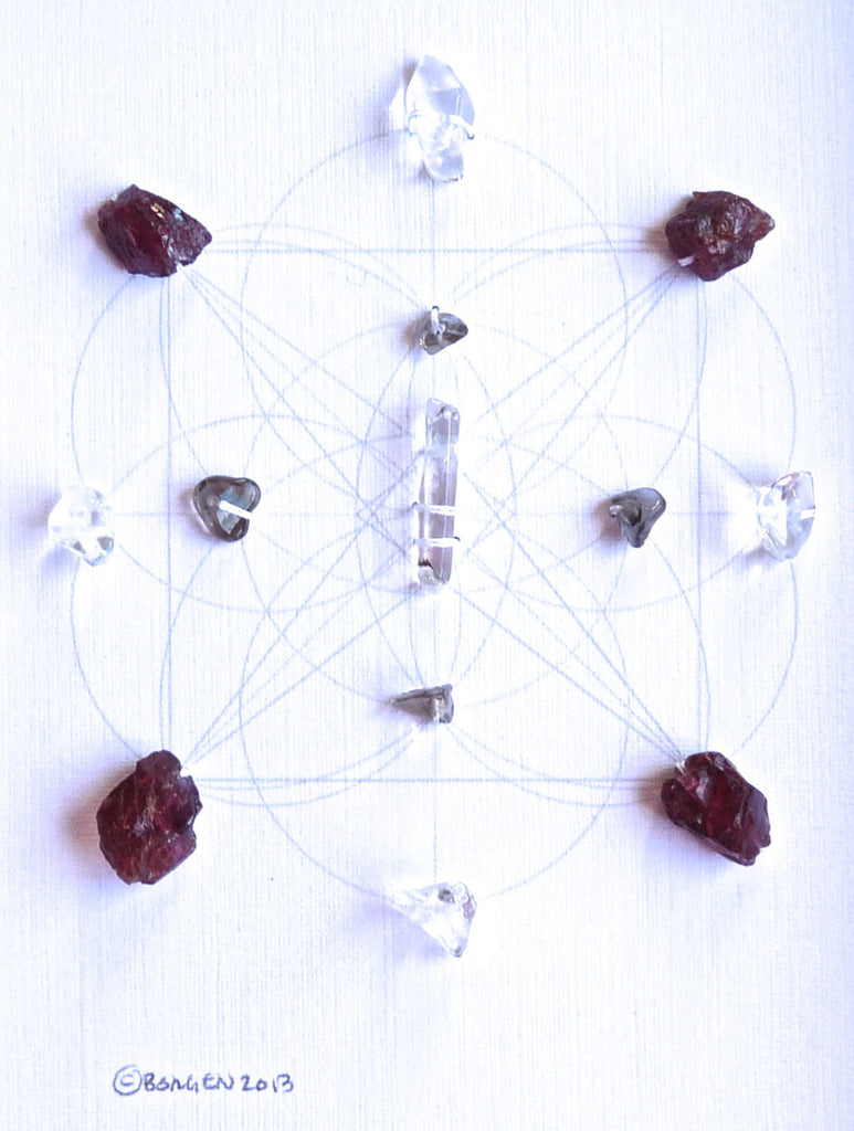 BALANCE GROUND MANIFEST --- framed crystal grid