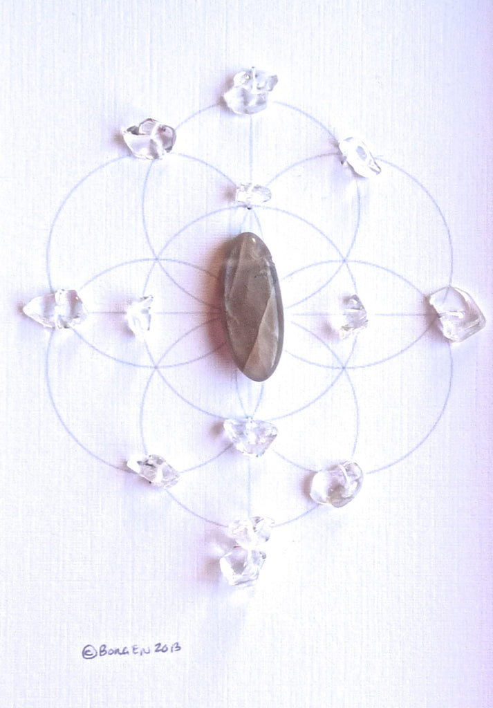 MOONSTONE -- framed crystal grid