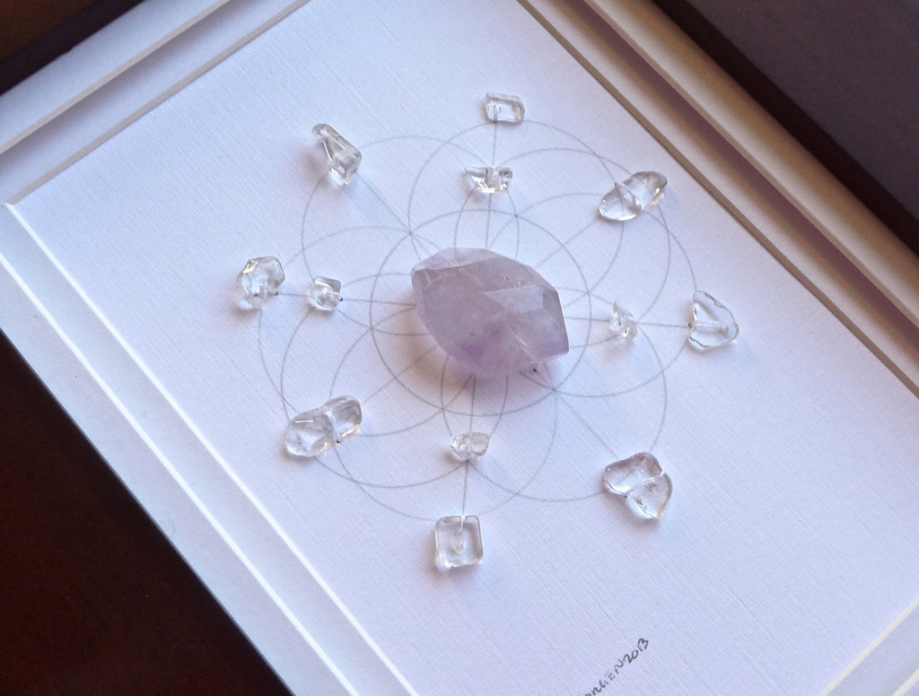 AMETHYST -- framed crystal grid