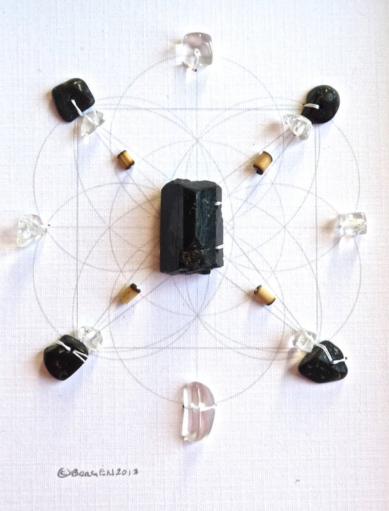 BLACK TOURMALINE --- framed crystal grid