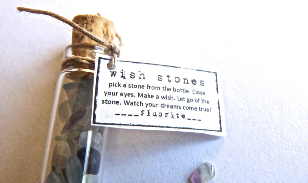 WISH STONES -- gemstone bottle -- favor