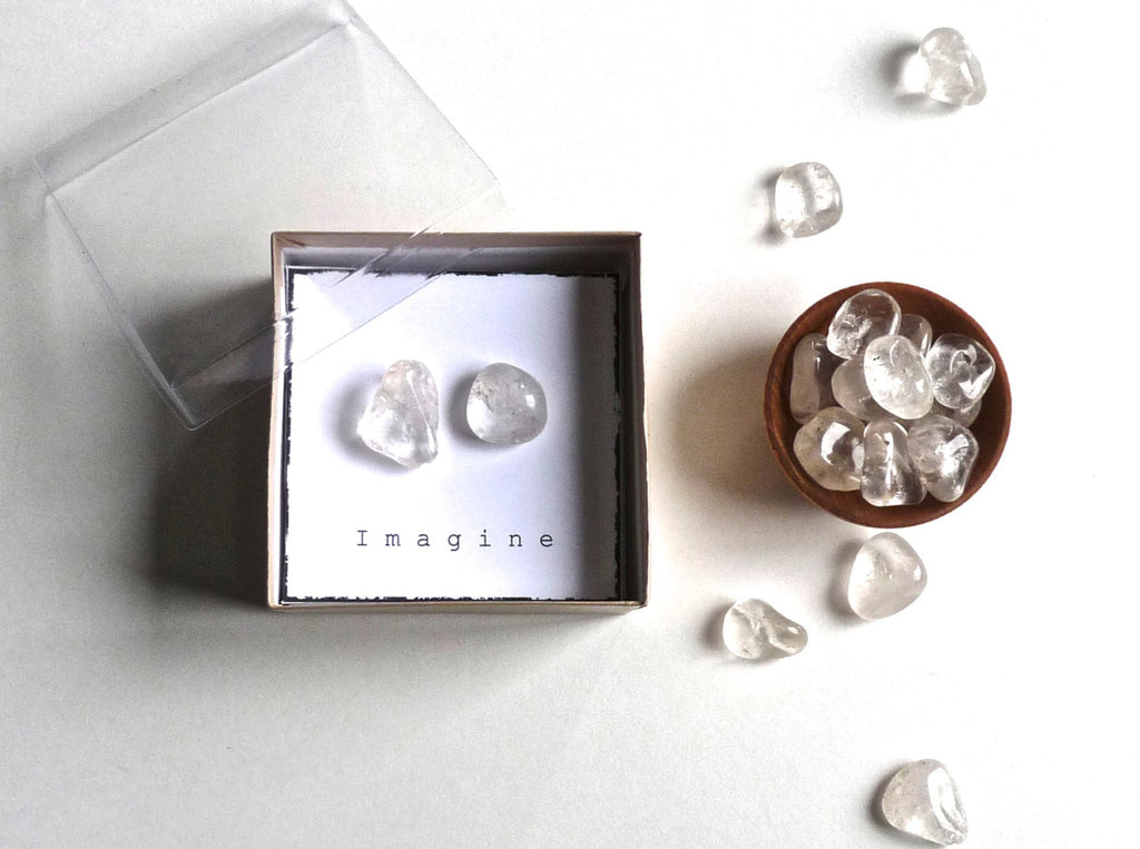 I M A G I N E - CLEAR QUARTZ -- intention stones with gift box