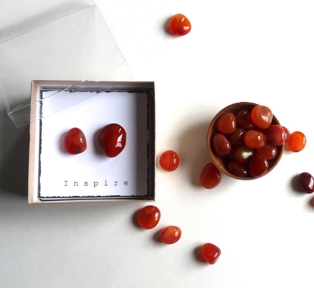 I N S P I R E - CARNELIAN -- intention stone gift box
