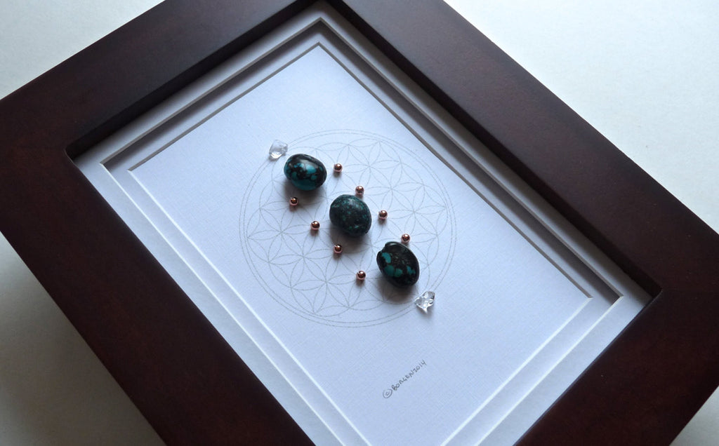 DECEMBER BIRTHSTONE GRID -- framed crystal grid