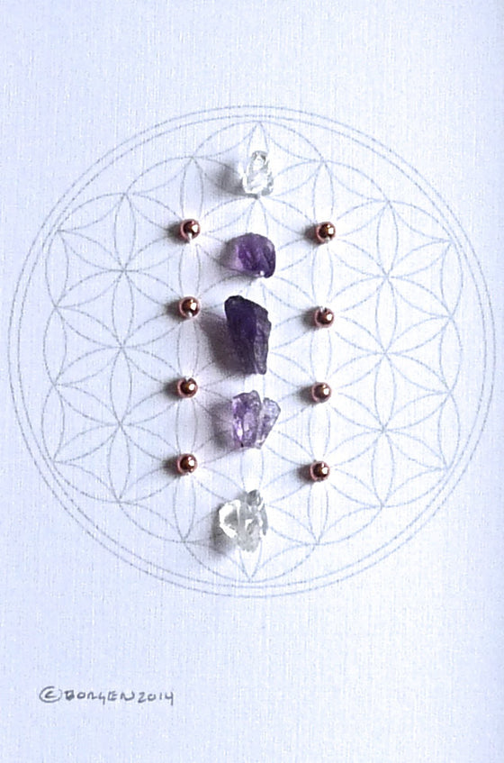 FEBRUARY BIRTHSTONE -- framed crystal grid