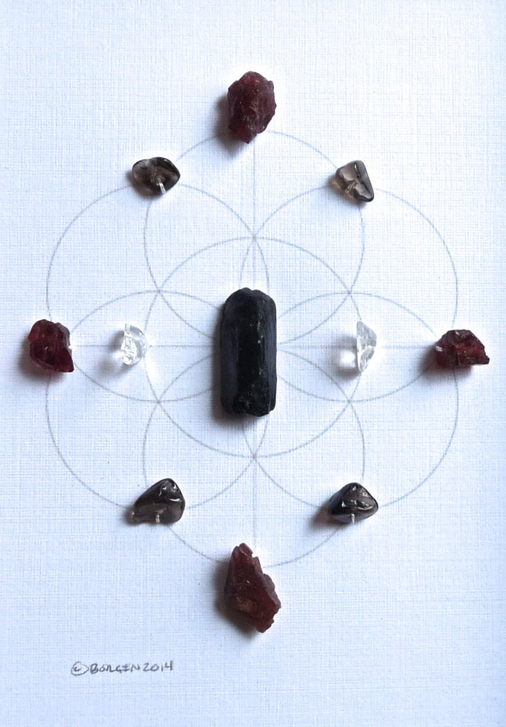 HEALING PURIFICATION & BALANCE -- framed crystal grid