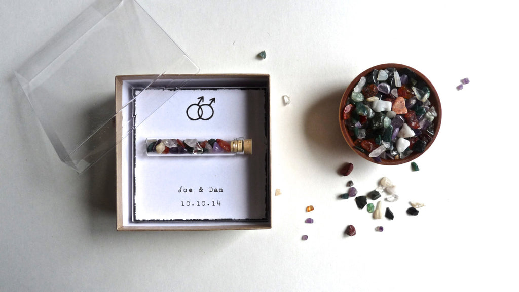 GAY WEDDING FAVOR -- rainbow wish stones