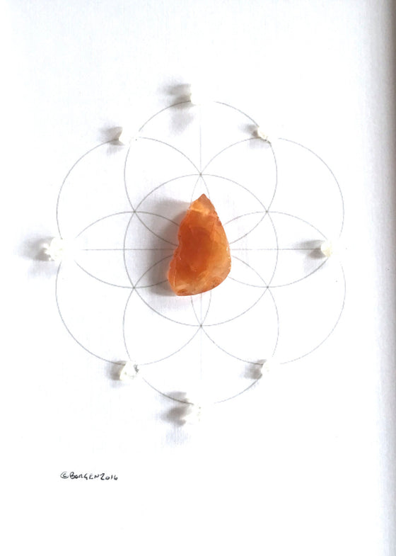 FERTILITY CRYSTAL GRID  -- framed crystal grid