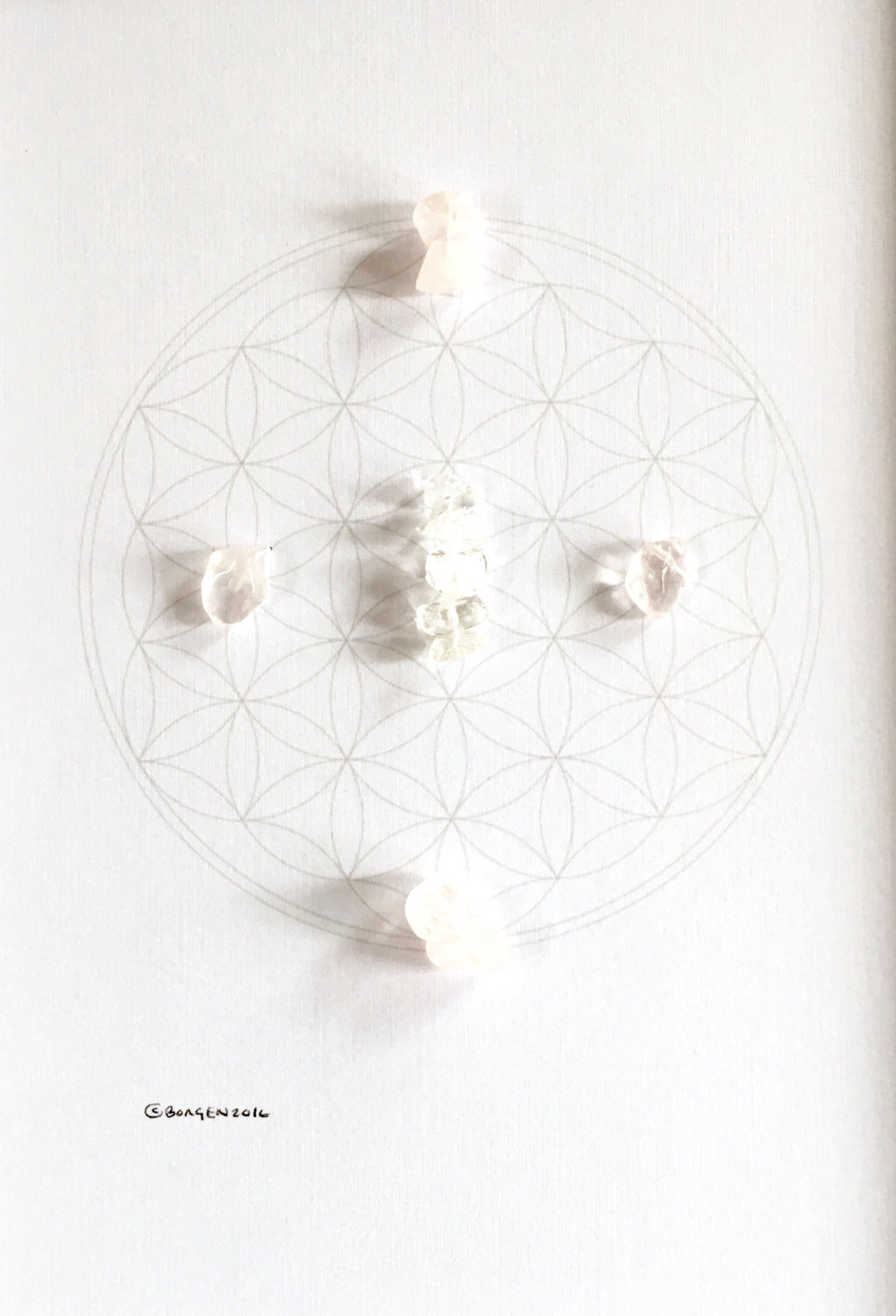 BABY BLESSING  --- framed crystal grid