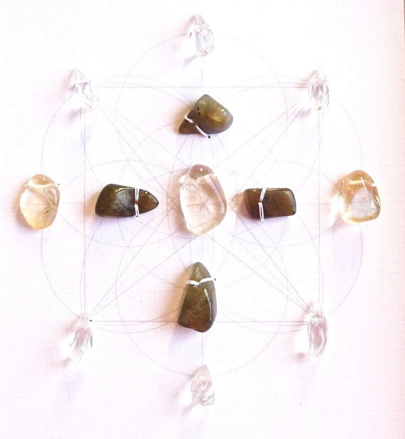 SHINE YOUR LIGHT -- framed crystal grid