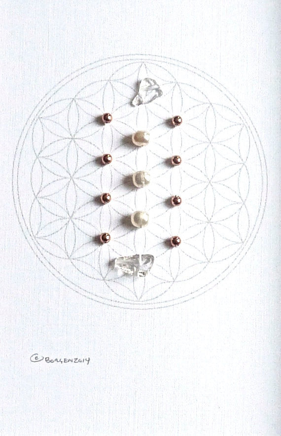 JUNE BIRTHSTONE GRID -- framed crystal grid