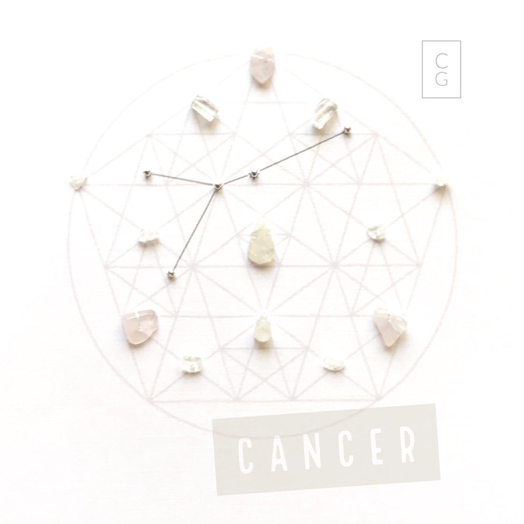 ZODIAC CANCER -- June 21- July 22 -- framed crystal grid