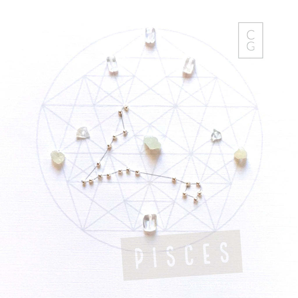 ZODIAC PISCES -- Feb 19- Mar 20 - framed crystal grid