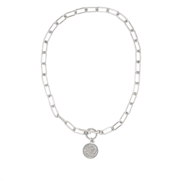 SILVER CENT COIN NECKLACE