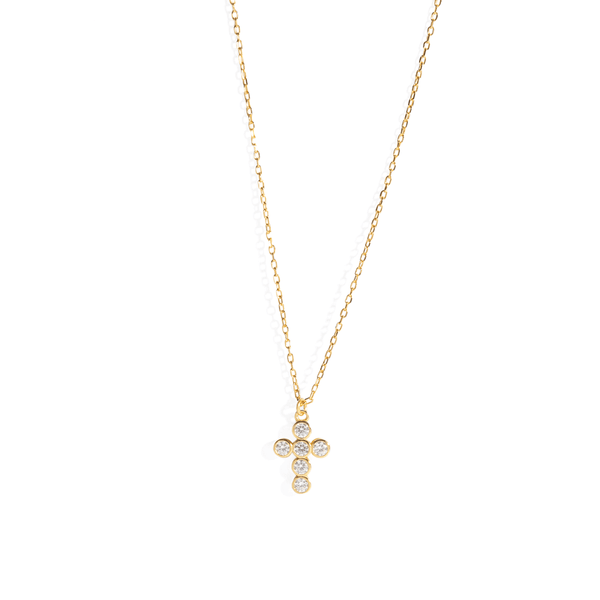 CRYSTAL DOT CROSS NECKLACE