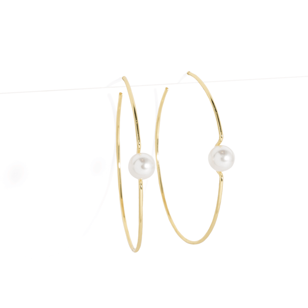 SOLITAIRE PEARL HOOPS