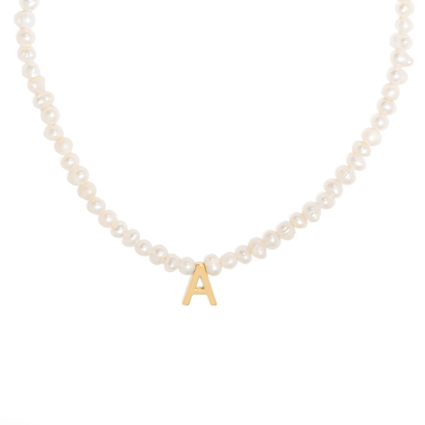 ARIAL LETTER PEARL NECKLACE