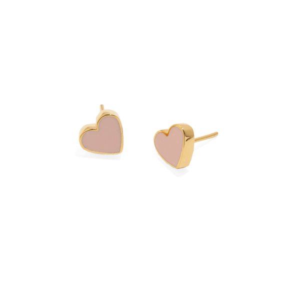 MINI NUDE HEART STUDS