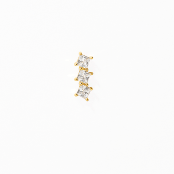 TRIPLE SQUARE ZIRCONIA EARRING