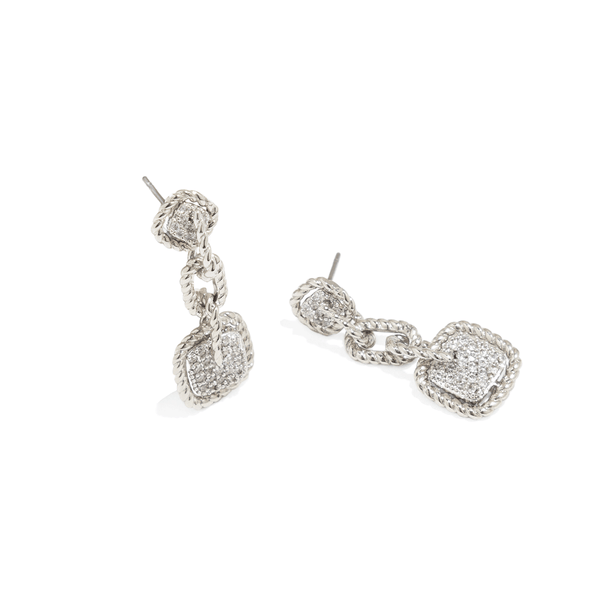 RHODIUM SQUARE DROP EARRINGS