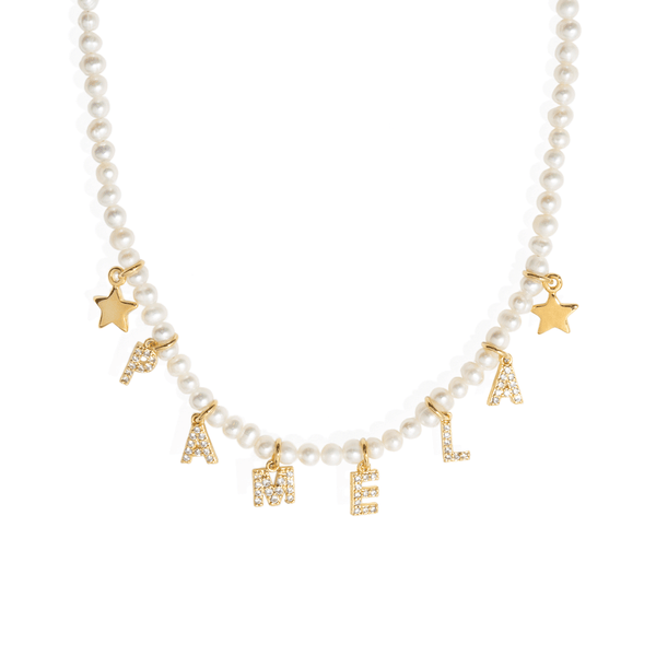 PEARL SPARK NAME NECKLACE