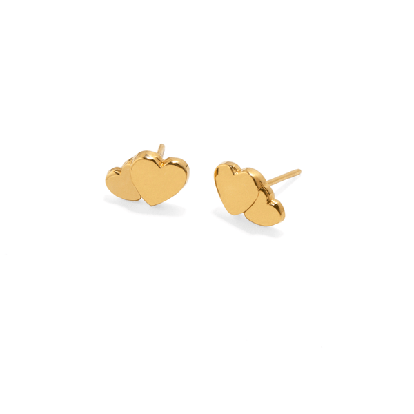 GOLDEN DOUBLE HEART EARRINGS