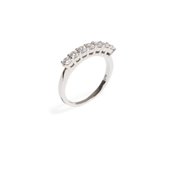 SEVEN MOISSANITE BIG BAND RING