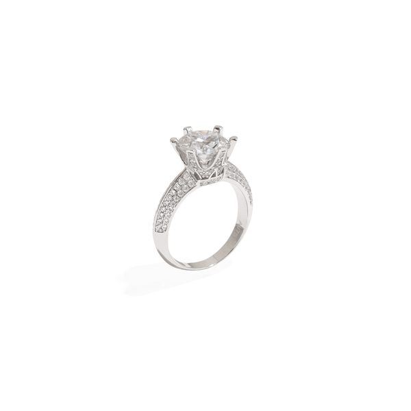 SOLITAIRE BRIDAL PAVE RING