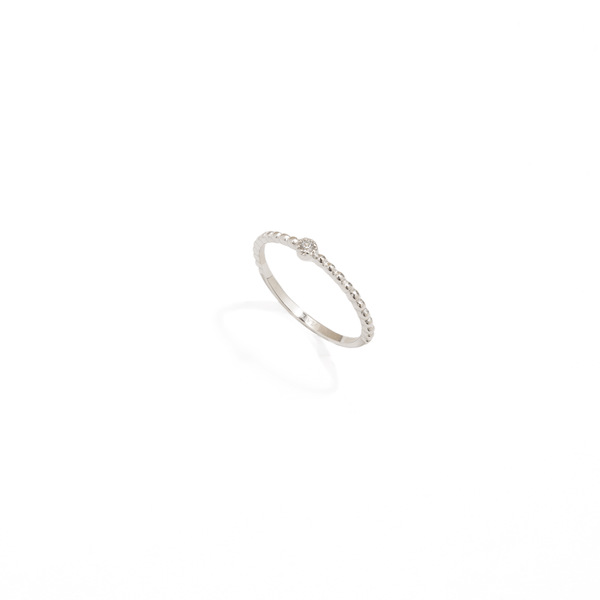 SOLITAIRE DOTS SILVER RING